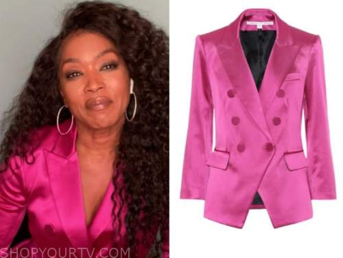 angela bassett, the talk, pink satin double breasted blazer