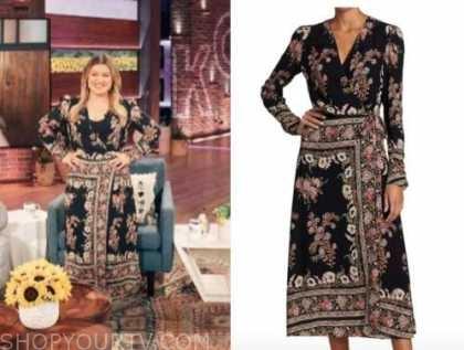kelly clarkson, the kelly clarkson show, black floral paisley wrap midi dress