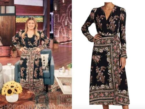 kelly clarkson, the kelly clarkson show, black floral paisley wrap midi dress