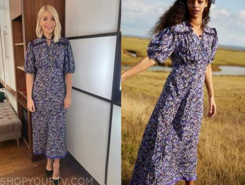holly willoughby, this morning, purple floral dress
