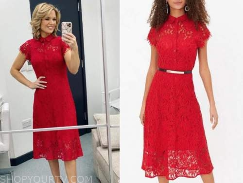 good morning britain, red lace dress, charlotte hawkins