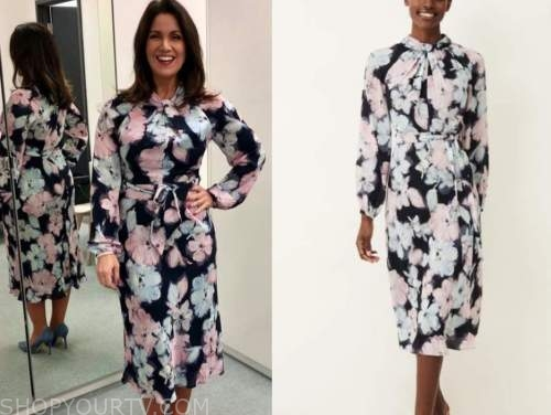 susanna reid, good morning britain, floral twist midi dress