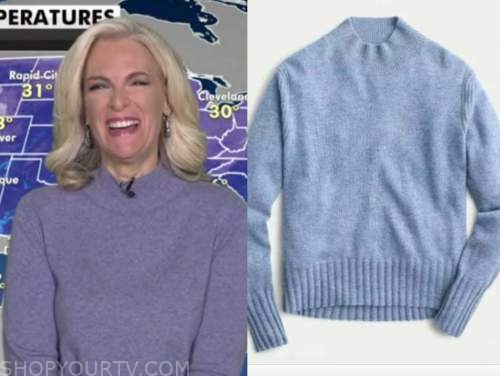 janice dean, blue cashmere mock neck sweater, fox and friends
