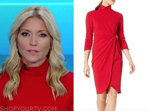 fox and friends, ainsley earhardt, red mock neck dress