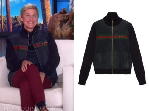 ellen degeneres, the ellen show, blue suede stripe jacket