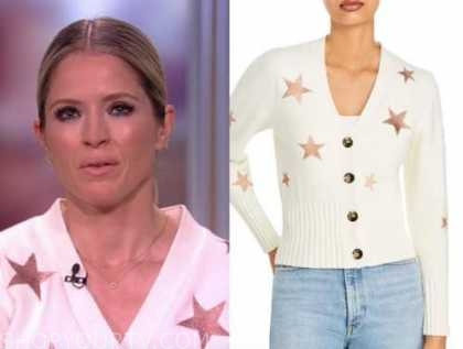 sara haines, the view, ivory rose gold star cardigan sweater