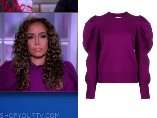 sunny hostin, the view, purple puff sleeve sweater