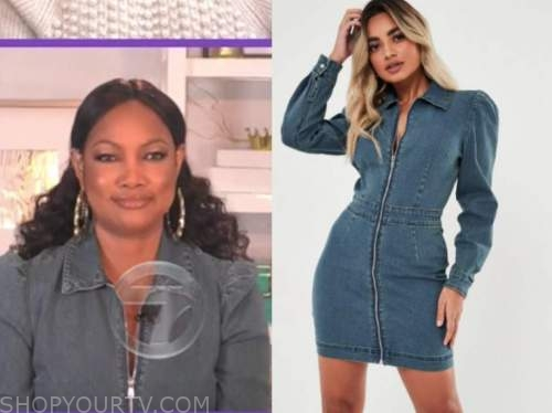 garcelle beauvais, denim zipper dress, the real