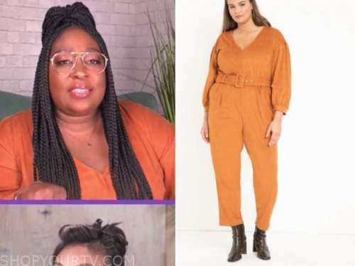loni love, the real, orange suede jumpsuit