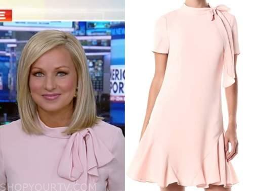 sandra smith, blush pink tie neck dress, america reports