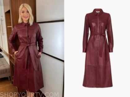 this morning, burgundy leather shirt dress, holly willoughby