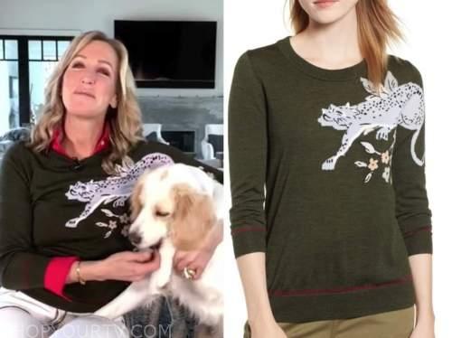 lara spencer, good morning america, green cheetah tiger sweater