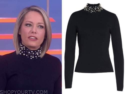 dylan dreyer, the today show, black pearl embellished neck sweater