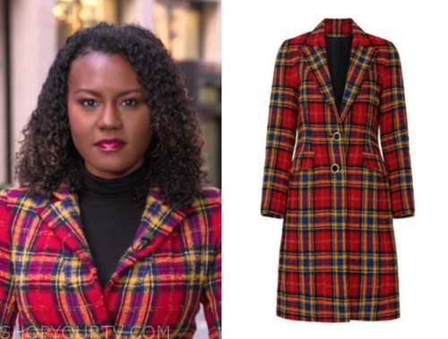 janai norman, good morning america, red plaid coat