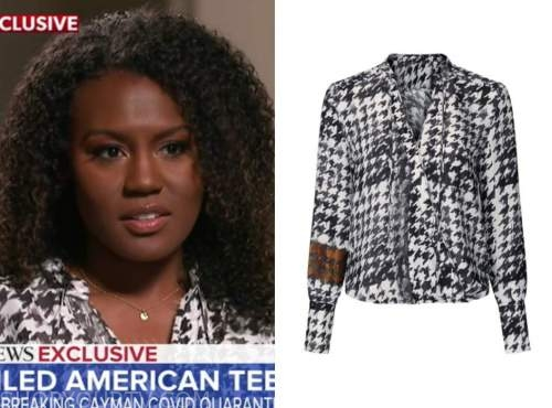 janai norman, good morning america, houndstooth blouse