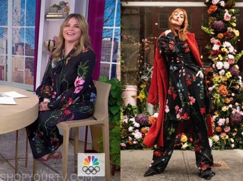 jenna bush hager, the today show, floral tie neck blouse, floral pants