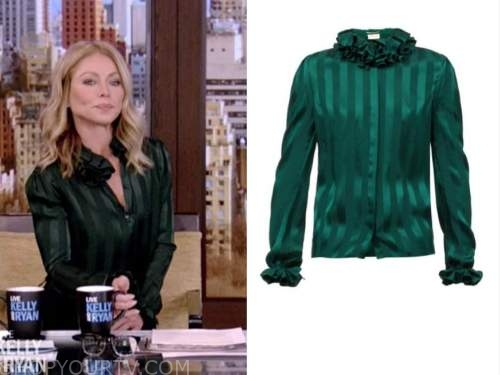 kelly ripa, live with kelly and ryan, green silk striped ruffle blouse