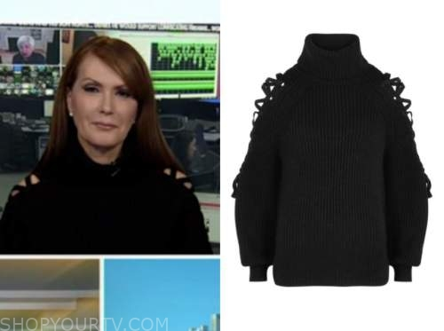 dagen mcdowell, outnumbered, black cutout turtleneck sweater