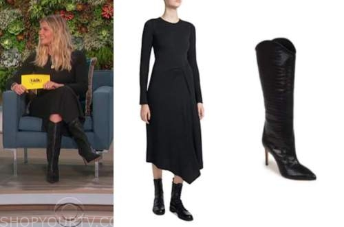 amanda kloots, the talk, ribbed knit dress, black boots