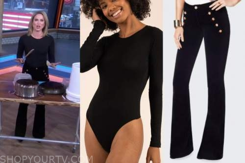 amy robach, good morning america, black bodysuit, black velvet button pants