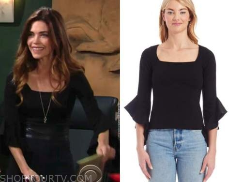 victoria newman, amelia heinle, the young and the restless, black square neck top