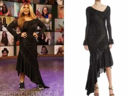 wendy williams, the wendy williams show, black studded asymmetric dress