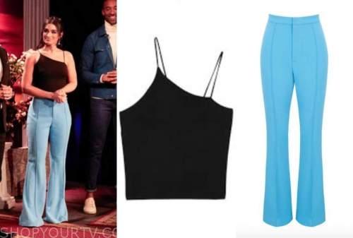 ashley iaconetti, the bachelor, black asymmetric top, blue pants