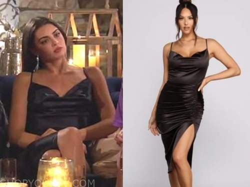 rachael kirkconnell, the bachelor, black cowl ruched drape dress