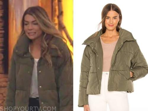 sarah trott, the bachelor, olive green puffer jacket