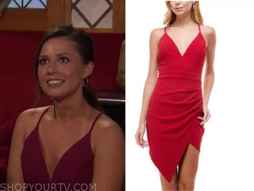 katie thurston, the bachelor, red lace back dress