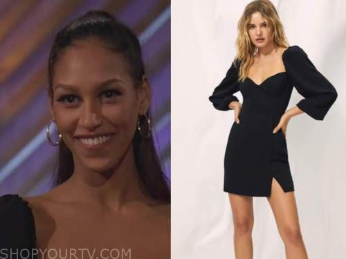 serena pitt, the bachelor, black one-on-one dress