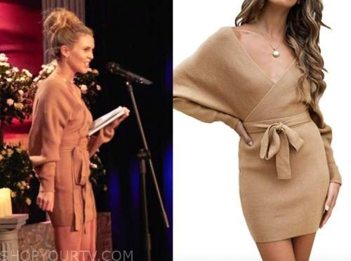 anna redman, camel wrap sweater dress, the bachelor