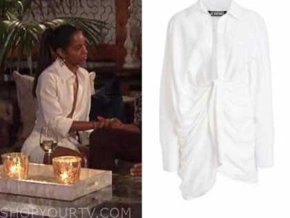 bri springs, white drape shirt dress, the bachelor