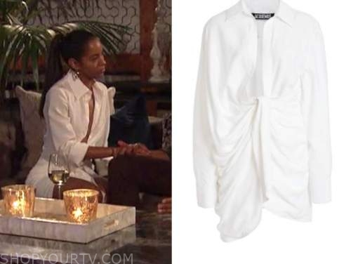 bri springs, white drape shirt dress, the bachelor