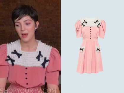 ella hunt, pink ruffle bow dress, the kelly clarkson show