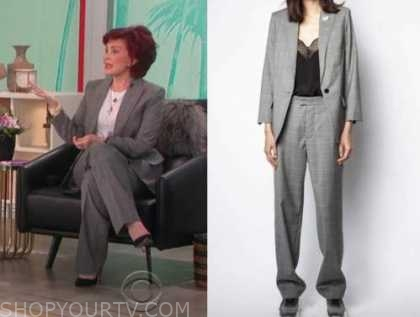 sharon osbourne, the talk, grey check pant suit