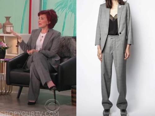 sharon osbourne, the talk, grey check pant suit