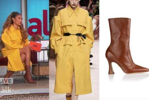 elaine welteroth, the talk, yellow trench dress, brown boots