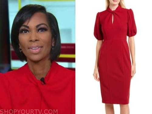 harris faulkner, red twist dress, outnumbered