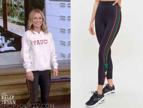 kelly ripa, live with kelly and ryan, black striped star leggings