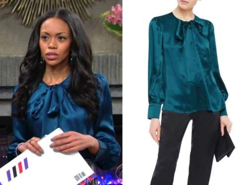mishael morgan, amanda sinclair, teal satin blouse, the young and the restless