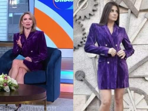 good morning america, amy robach, purple velvet blazer dress