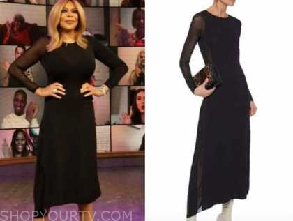 wendy williams, the wendy williams show, black asymmetric knit dress