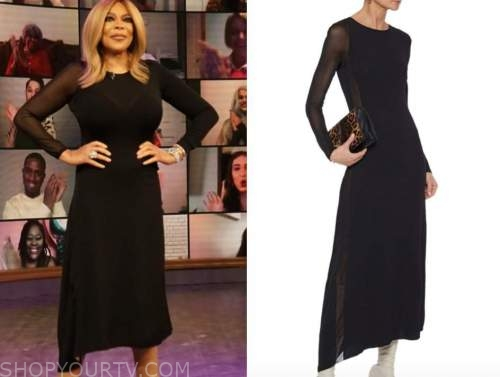 wendy williams, the wendy williams show, black asymmetric knit dress
