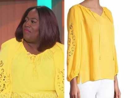 sheryl underwood, yellow cutout blouse, the talk