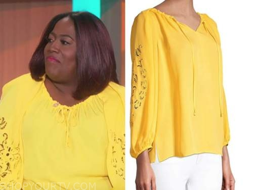 sheryl underwood, yellow cutout blouse, the talk
