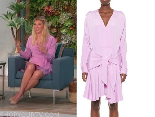 amanda kloots, lavender purple silk wrap dress, the talk