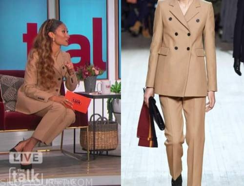 elaine welteroth, the talk, camel double breasted pant suit