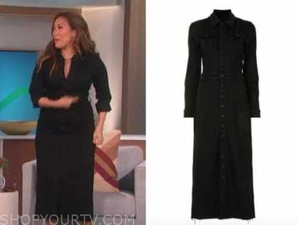 carrie ann inaba, the talk, black denim shirt dress