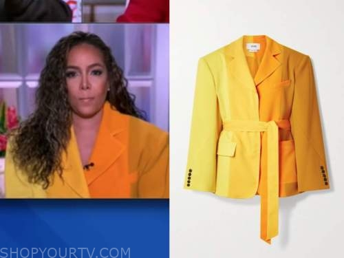 sunny hostin, the view, yellow and orange colorblock blazer